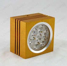 Elegant 7W Square LED Ceiling Light Surface Mount Lamp Golden 630 Lumens Bright(China)