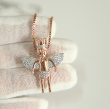 high quality rose gold gold silver 3 color 3d shape angel wing mini angel hip hop jewelry mens bling cool necklace