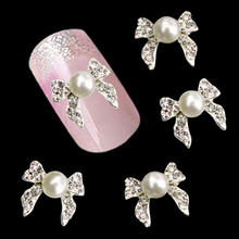 10pcs Man-made Pearl Alloy Glitter Rhinestone Bow Nail Art Salon Decor Stickers Tips DIY Decroations Studs Chic Design 5GIJ(China)