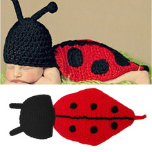 Cute Ladybug Baby Hat Cape Set Knitted Infant Baby Photography Props Crochet Baby Animal Costume Shower Gift MZS-14001