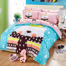 Hundred cotton,Fleece fabrics, four (a quilt cover, sheet, two pillowcases) cartoon The polar bear Christmas bear leica
