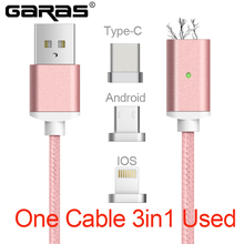 Magnetic Cable 8 Pin Lightning Micro USB Type C 3in1 Mobile Phone Magnet Cable Fast Charging Magnetic Micro USB Cable Adapter