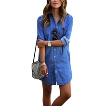 Autumn 2017 new fashion women blue denim dress casual loose long sleeved T shirt dresses straight dress plus size free shipping(China)