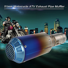 Car-styling Motorcycle exhaust 51mm Refit Muffler Pipe Blueing Stainless Steel Extended Exhaust Muffler Tail Pipe Universal(China)