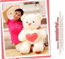 love heart teddy bear plush toy soft throw pillow ,proposal birthday gift w5423(China)