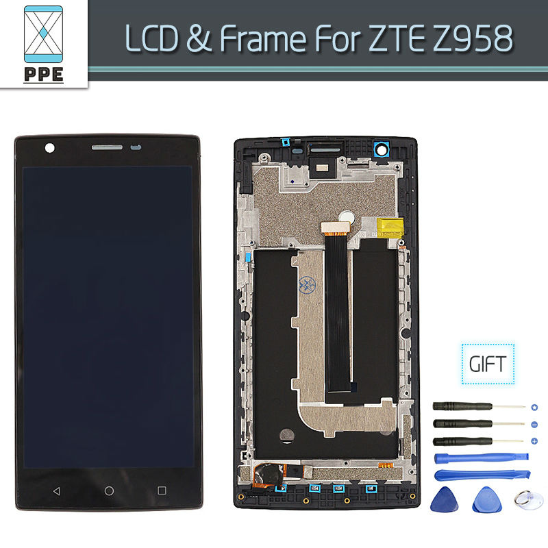 100% Original For ZTE Z958 LCD Touch screen Complete Display Digitizer Assembly with Frame Black color Free Shipping+Tools<br>