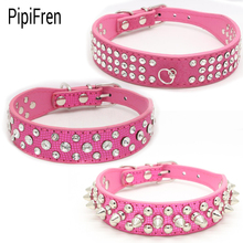 PipiFren Small Dogs Collars Cat Accessories Spiked Rhinestone For Puppy Big Dog Collar Pet Necklace honden halsband mascotas(China)