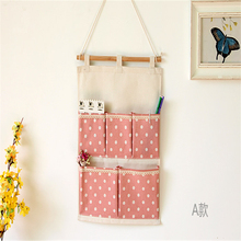New Vintage Cotton and Linen  5 Pockets Cute Dot Storage Bag Hanging Type Multilayer Cloth Art Sundry Receive Bag