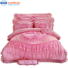 10pc/6pc Lace heart princess wedding bedding sets queen king size duvet cover +quilted bedcover+pillow sham+cushion pink red