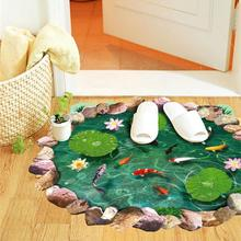 3d Lotus Fish Water Pool Through The Floor Stickers Room Decor Home Decals Peel and StickMural Wall Art Pastoral Poster 3.0