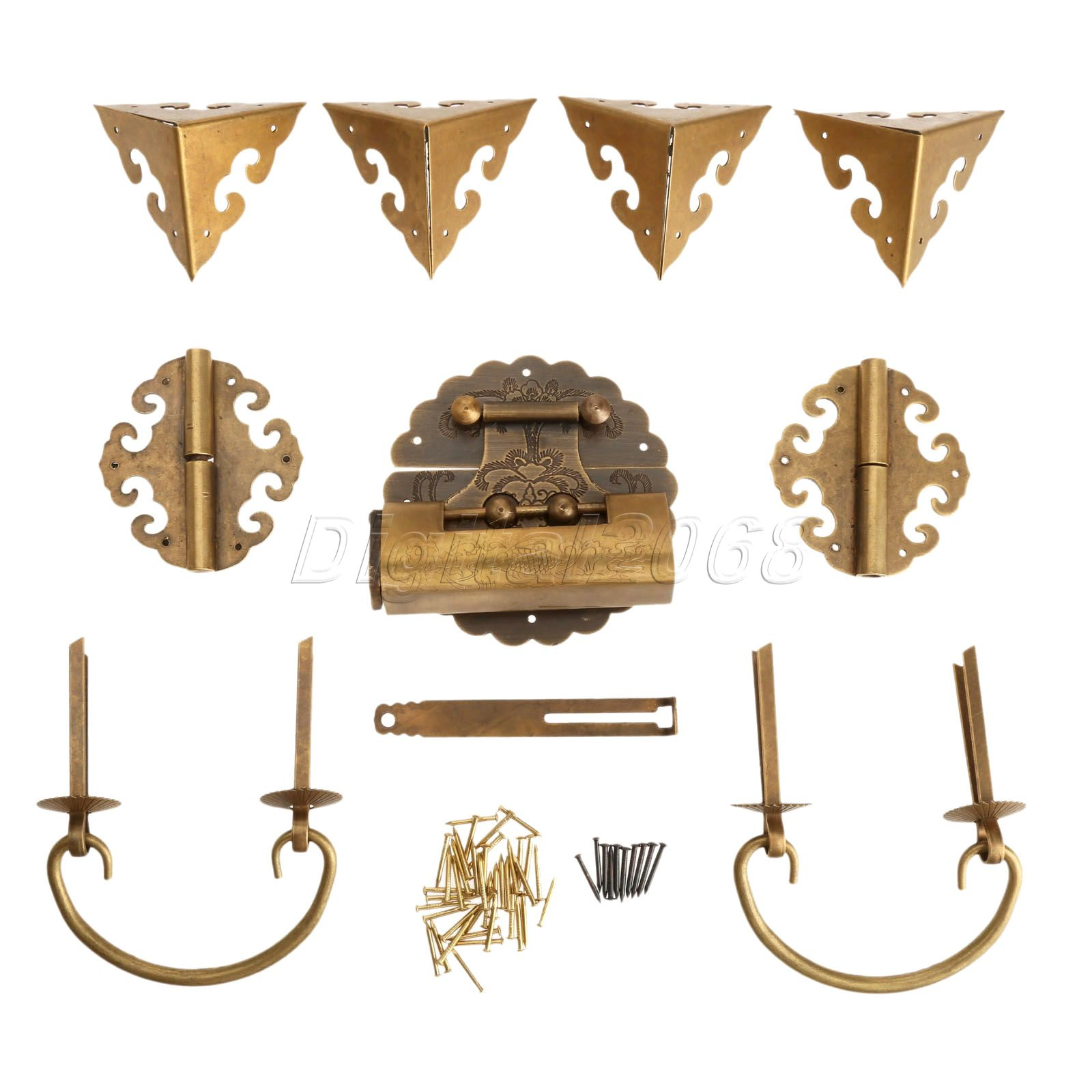 Hot Good Quality 9pcs/set Brass Chinese Furniture Hardware Chest Hinge Trunk Latch Box Handle Corner Plate with Nails<br>