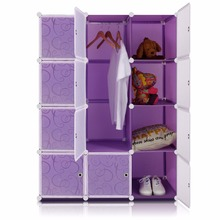 Lifewit DIY Portable Wardrobe 12-large space cube Clothes Closet Multi-use Storage Organizer Cabinet Purple with White Doors