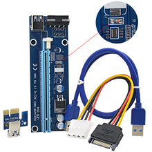 Voltage Regulator 60CM PCIE PCI-E 1X to 16X Riser Card + USB 3.0 Cable / SATA to 4Pin IDE Molex Power Supply for Bitcoin Mining