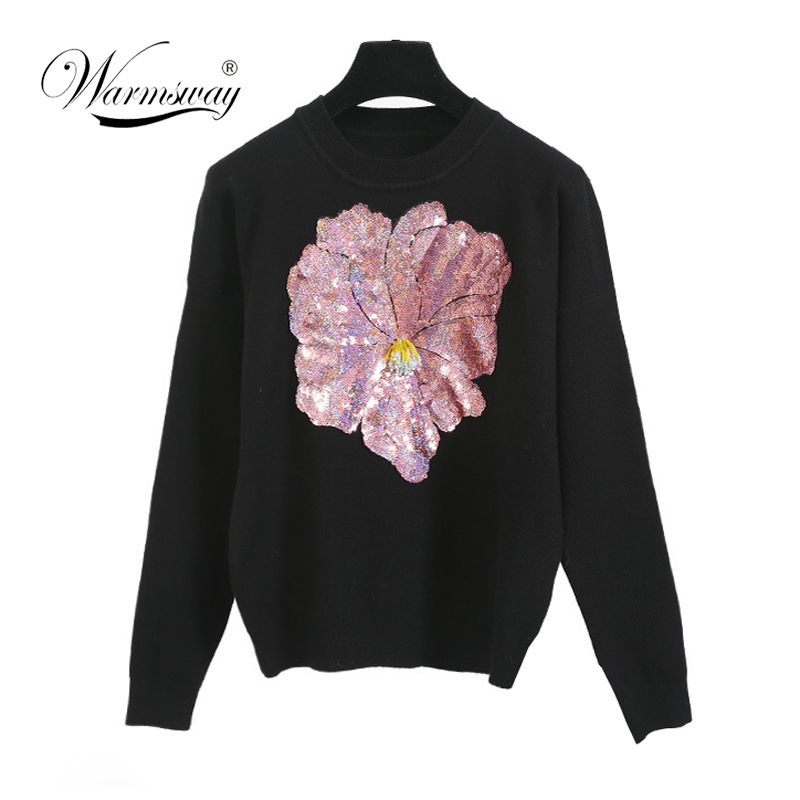 New 2018 Spring europe street style women knit sweater sequins 3d Big flower Beading knitwear pullovers C-085