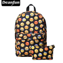 Deanfun 2PCS Printing Emoji Backpack Fashion Youth Schoolbags for Teenager Girls Boys TZ1(China)