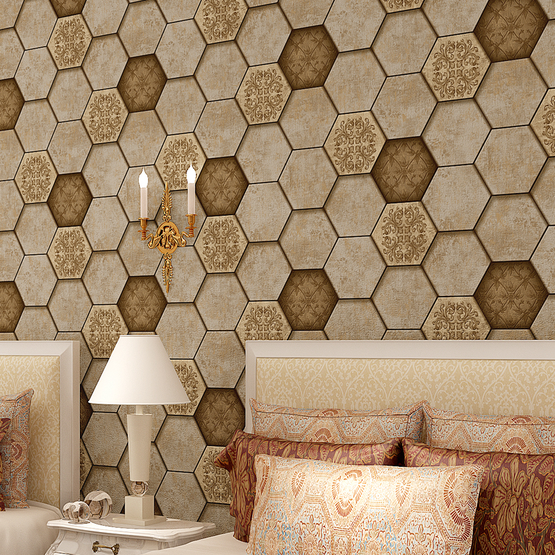 3D Honeycomb Tiles Vintage Wall Paper Roll PVC Embossed Brown Gray Decor<br>
