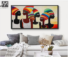 Large african woman painting canvas acrylic mother's day gift Abstract hand painted canvas oil paintings interior decoration
