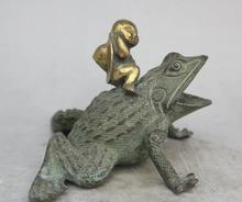 "Details about 7"" Chinese Folk Feng Shui Bronze Gilt Tong Zi Boy Kid Ride Toad Statue Sculpture(China)"