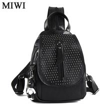 Summer stretch female backpacks shopping trendy leather bag womens female all black little fashion backbag for ladies pu G1113