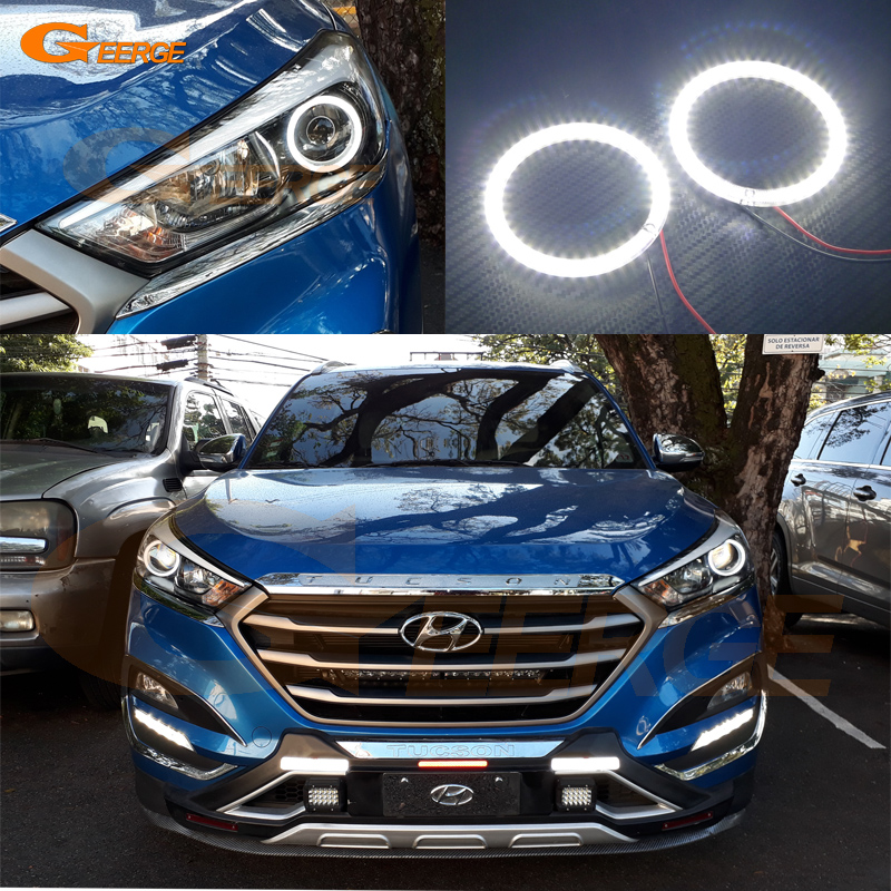 For Hyundai Tucson 2016 2017 HALOGEN HEADLIGHT Excellent Ultra bright illumination smd led Angel Eyes kit halo rings<br>