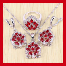 925 Sterling Silver Crown Shaped Red Garnet Jewelry Set For Women Free Jewelry Box Free Shipping