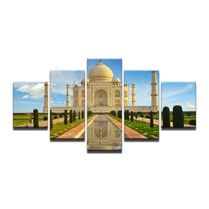 Modern-Abstract-5-Panel-Taj-Mahal-Reflection-Landscape-Picture-Painting-On-The-Canvas-For-Frames-Drop (3)