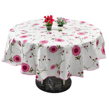 Table Cloth Cover Home Picnic Round Flower Pattern Water Resistant Oil-Proof Tablecloth 60 Inch