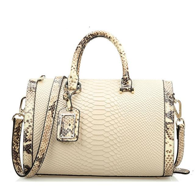 New 2017 High Quality Genuine Leather Bags For Women Crocodile Designer Brand Handbag Ladies Shoulder Bags Snake Skin Boston Ba<br>