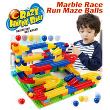 DIY Construction Crazy Marble Race Run Maze Balls Track Building Blocks Colorful rolling ball Educational toys for children