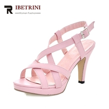 RIBETRINI Big Size 32-43 Fashion Women Gladiator Sandals Casual Dress Summer Shoes Lady pink white Platform Shoes Woman Sandals