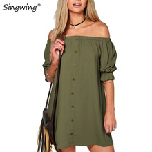 Singwing Women Slash neck Dresses  Sexy Short  Puff Sleeve dress Solid Color Summer women Casual Dresses