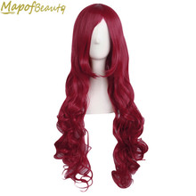 32 Inches Long Wavy Dark Red Color Cosplay Wig Women Ladies Heat Resistant Synthetic hair Halloween Fake Hairpiece MapofBeauty(China)