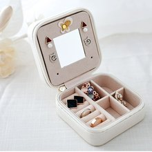Mini Cosmetic Leather Jewelry Box Necklace Ring Storage Case Organizer Display With Mirror(China)