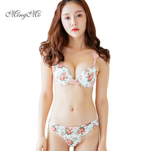 Free shipping 2018 new luxury pink satin three breasted women underwear set AB cup of adjustment plus side sexy push up bra sets(China)