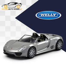 Children Kids Welly 918 Spyder RSR Model Car 1:36 Diecast Metal Alloy Cars Toy Pull Back Gift