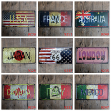 The National Flag Japan Car License Plate France Australia Mexico Vintage Tin Sign USA Canada Italy Wall Art Metal Poster YQZ007