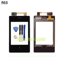 Original High Quality 2.8'' For Nokia Asha 503 Touch Screen Digitizer Sensor Front Glass Lens panel + tools