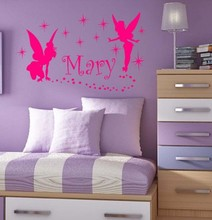 Family Stickers Fairies Custom Girl Name Wall Decor Vinyl Decal Sticker(China)