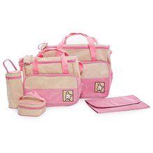 5pcs Waterproof Multifunctional Nappy Changing Mummy Handbag Diaper Pad Feeding Bottle Holder Food Bags Inside Diaper Bag Sets