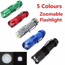 Mini Flashlight ZOOMABLE 7W Q5 2000lm ZOOM Tactical AA 14500 battery Flashlight Torch Lamp(China)