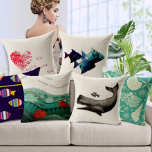 Free shipping Marine fish whale shells cartoon cotton and linen hold pillowcase car sofa cushion Cover for leaning on of 45 * 45