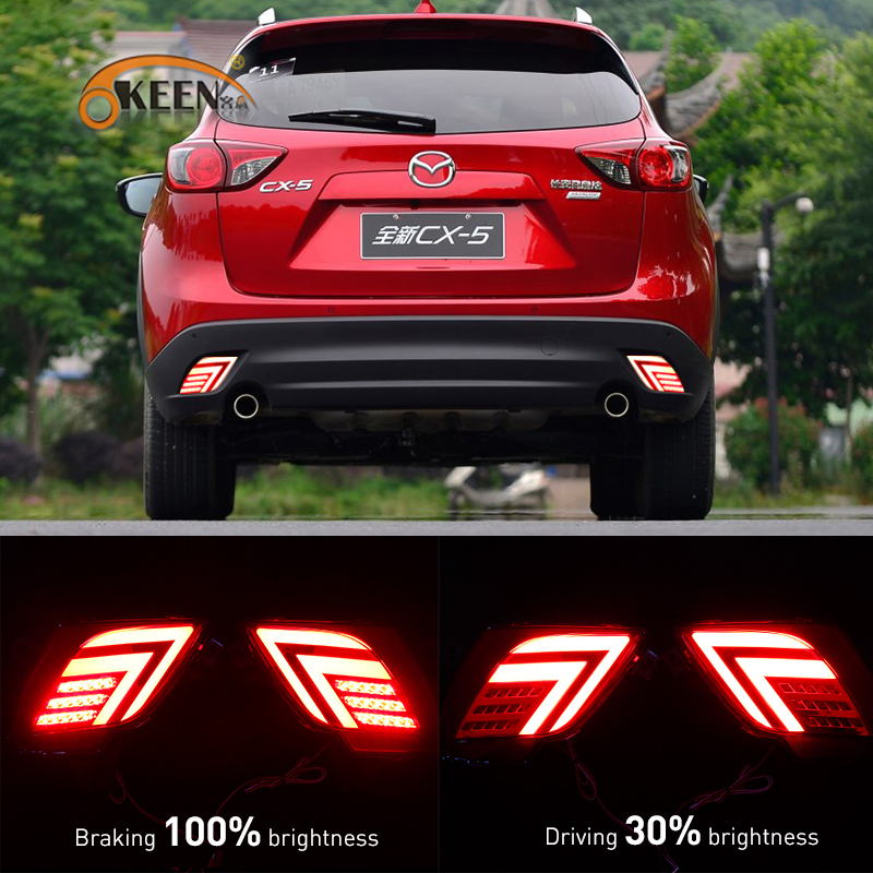 OKEEN 2PCS car styling Multi-function LED Rear Bumper Light For Mazda CX-5 CX5 2013-2016 Auto Brake Light led tail light <br>