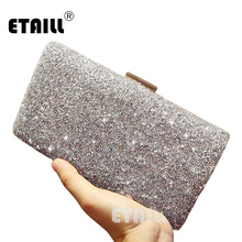 ETAILL Silver Luxury Brand Crystal Diamond Clutch Bags 2017 Women Evening Bags Designer Sparkly Party Clutch With Long Chain