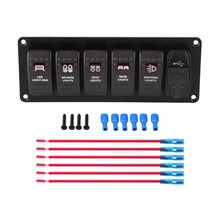 12V-24V 6 Gang Red LED Rocker Switch Panel with 3.1A Dual USB for Car RV Boat Yacht Marine Boat Switch Panel(China)