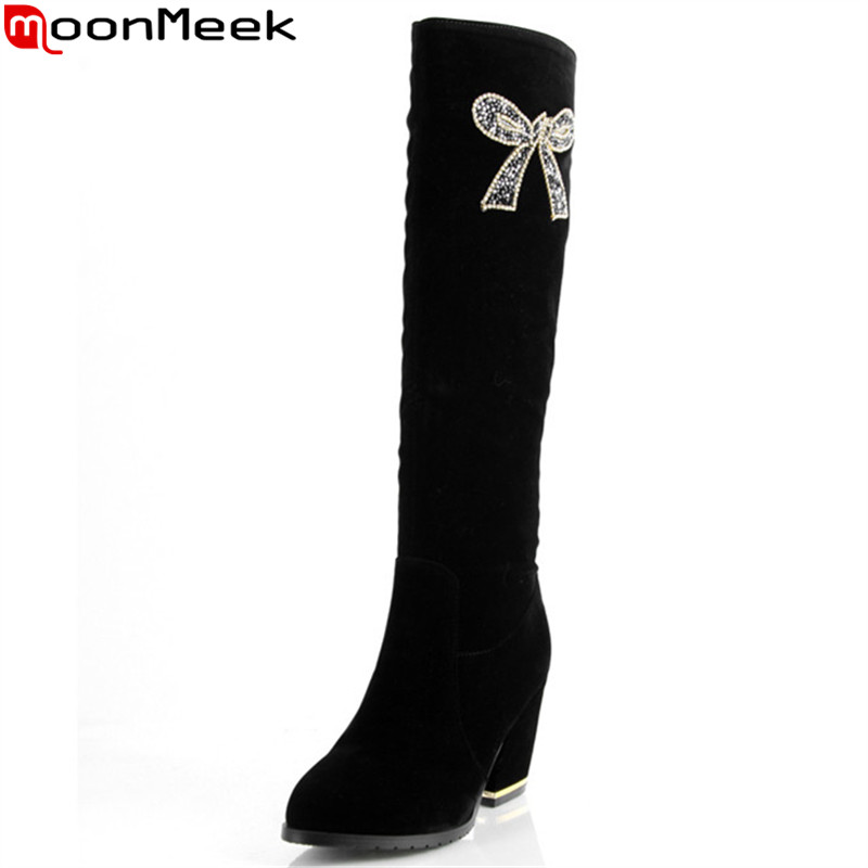 MoonMeek fashion black flock women boots zipper bowknot round toe knee high boots elegant lady boots big size 34-43<br>