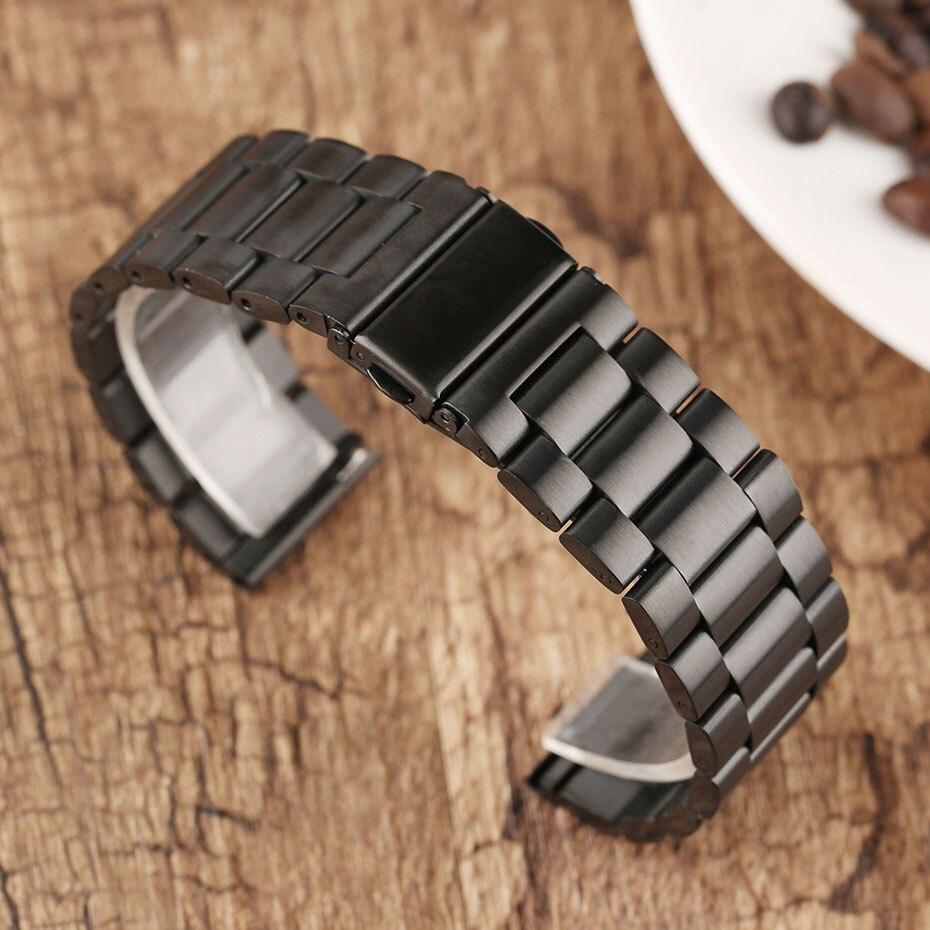 2022 mm Universal Milanese Watchband Quick Release Watch Band Mesh Stainless Steel Strap Wrist Belt Black Bracelet (9)