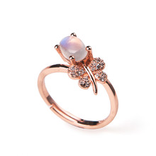 Women Femme Charming Wedding Party Rings  Jewelry Adjustable Strong Blue Lights Moonstone Natural Stone Rings