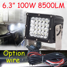 "Free DHL/UPS Ship,6.3"" 100W 8500LM 10~30V,6500K,LED working light;Free ship!Optiona wire;motorcycle light,forklift,tractor light"