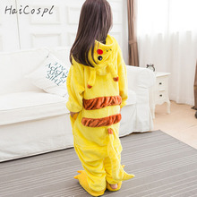 Pikachu Onesie Kids Pokemon Cosplay Costume Lovely Warm Boy Girl Anime Sleepwear Party Disguise Yellow Hooded Suit With Shoes(China)