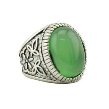 Newest Design Vintage Oval Green Stone Ring for Women and Men Bohemian Party Wedding Ring Fashion Jewelry Size 8 9 10 11